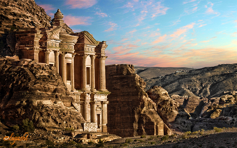 Petra is located on the slope of the Al Madbah Mountain